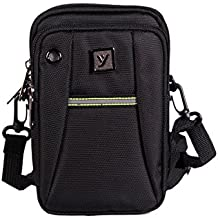 Men Traveler Sling and Cross-Body Messenger Bag or Mobile Pouch, Attach to the Waist Belt - Premium Quality and Spacious - 3 Zips and 3 Internal Pockets - Earphone Hole in the Front - Mini Carabiner Provided