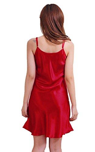 Donna supporto nastro di raso accappatoi notte indumenti vestito pigiamino pigiama rosso vivo
