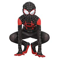 Kids Spiderman Costume New Spider-Man Into The Spider-Verse Miles Morales Cosplay Costume Zentai Suit Halloween Costume For Kids (L)