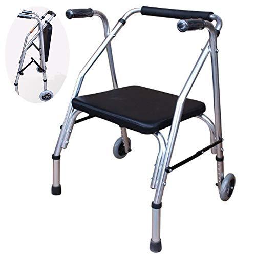 RANRANHOME Klappbarer Gehwagen, höhenverstellbar mit Rädern, kompaktes Leichtgewicht für Senioren im Erwachsenenalter, verdickt vergrößert, schwarz