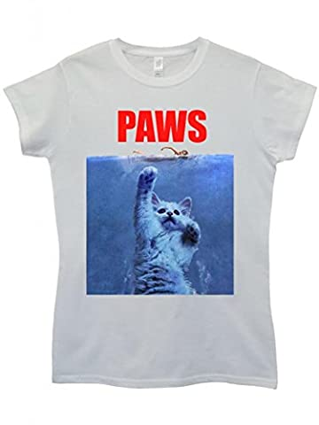 Paws Cat Kitten Meow Parody Cool Funny Hipster Swag White Weiß Damen Women Top T-Shirt-Small