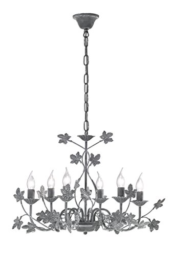 Preisvergleich Produktbild Honsel 12046 Krone, Metall, 30 W, E14, betonfarbig/grau, 68 x 68 x 48 cm