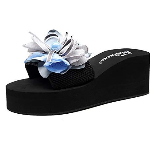 chuhe Slip-on Plateau Keilabsatz Open Toe Wedges Heels Pure Color Keilpumps Flower Plattform Slipper Schuhe (Schwarz,35 EU) ()