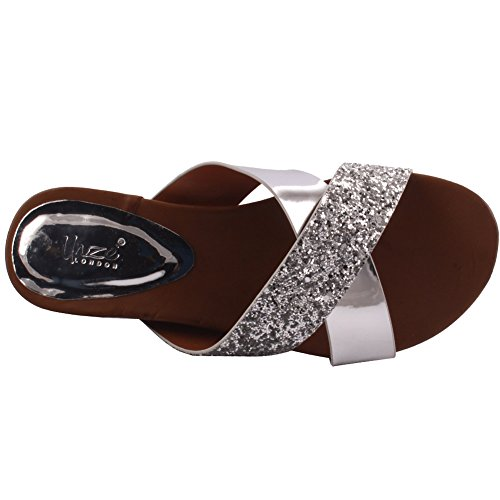Unze New Women 'Bruno' Glittered Metallic Open Toe Slider Sandales Summer Beach Party Get Together School Carnaval Casual Chaussons Pantoufles Grande-Bretagne Taille 3-8 Argent