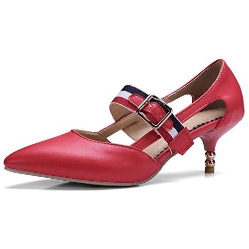 COOLCEPT Femmes Mode Cheville Mary Janes Court Chaussures Bout Ferme Escarpins Talon Moyen Chaussures Rouge