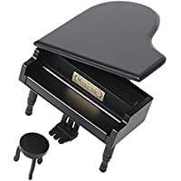 Preisvergleich für Retro Aufzieh Klavier aus Holz Spieluhr, Holz Simulation Geschenk Musik Box, Happy Birthday To You Spieluhr, holz, Black-Silvery, Happy Birthday To You