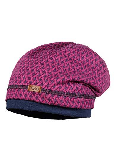 maximo Baby-Mädchen GOTS Beanie aus gemustertem Jersey Mütze, Rosa (Dunkel Pink Meliert 87), (Herstellergröße: 49)