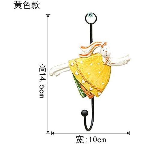 qwer American idílico resina estéreo conejo ganchos decorados creativos percheros de pared en la pared , amarillo)