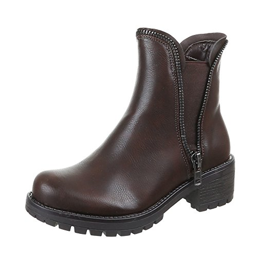 eb684d221c79 Damen Schuhe Stiefeletten Warm Gefütterte Boots Schwarz Braun Camel 36 38 38  39 40 41 Dunkelbraun
