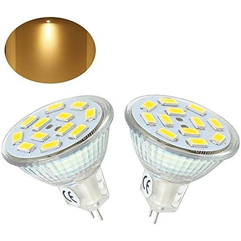 Bonlux 2-Packs 2W MR11 LED Spotlight gu4 blanco cálido 3000K 20W halógena de 12 voltios Equivalente 120 grados MR11 G4 / Bombilla GU4.0 luz LED para el hogar, paisaje, empotradas, iluminación de la pista