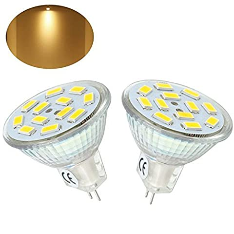 Bonlux 2-Packs 2W MR11 GU4 LED Spotlight Warm White 3000K 12 Volt 20W Halogen Equivalent (Illuminazione Della Pista)