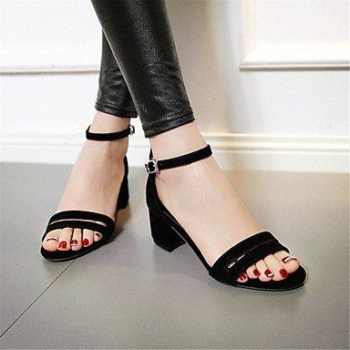 LvYuan Da donna-Sandali-Ufficio e lavoro Formale Casual-Comoda Club Shoes-Quadrato-Velluto-Nero Beige Borgogna Black