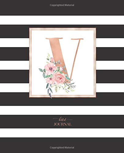 """Dotted Journal: Dotted Grid Bullet Notebook Journal Black and White Stripes Rose Gold Monogram Letter V (7.5"""" x 9.25"""") for Women Teens Girls and Kids por Cute Little Journals"""