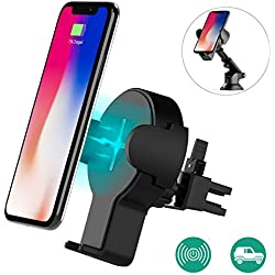 Auckly Chargeur sans fil rapide voiture, Qi Support Téléphone Voiture Chargeur auto sans fil à Induction Rapide pour iPhone X/8/8 Plus, Samsung Galaxy S9/S9+/S7/S7 Edge/S6 Edge/S8/S8 Plus/Note 5, etc