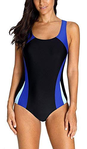 Anwell Damen Sport einteilig Schwimmanzug sportlich Wettbewerb Badeanzug Blau L