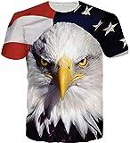 Loveternal Eagle T-Shirts Men Patrón 3D Impreso Casual Tops Camisetas de Manga Corta S