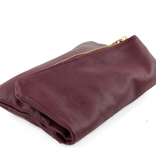 modamoda de - ital. Ledertasche kleine Damentasche Handgelenktasche Nappaleder T95 Lilarot