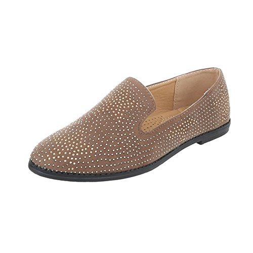 Scarpe da donna Mocassini tacco a blocco Slipper Ital-Design bronzage