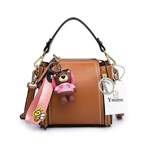 Sacchetto di sacchetto del sacchetto di trucco del raccoglitore della borsa delle signore sveglie dellorso dellorsacchiotto di mini sacchetti di Yoome della borsa per le ragazze - marrone Marrone