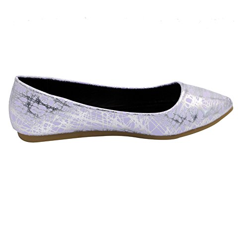 AalarDom Damen Weiches Material Spitz Zehe Ohne Absatz Gemischte Farbe Flache Schuhe Lila