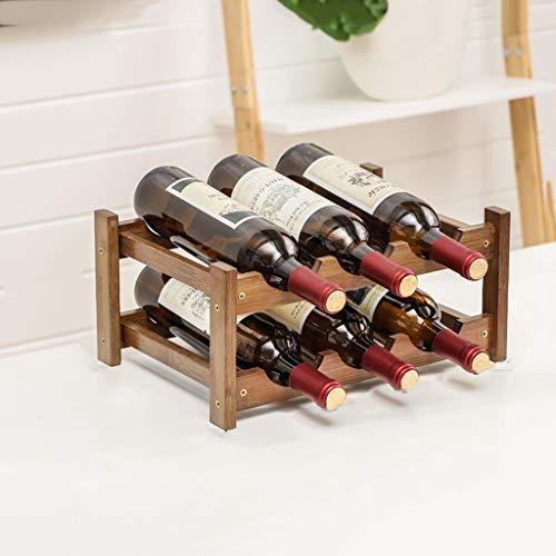 WLNKJ Modular Wine Rack - Bambus Weinregal Lagerregal Aus Holz Weinregal - Kleine Arbeitsplatte Weinregal (Multi Größe),2layer - Modular Wine Rack