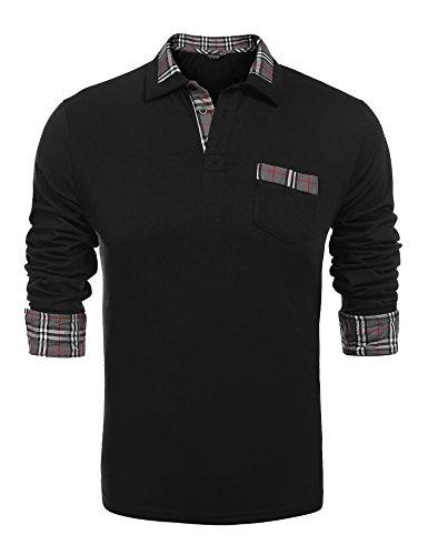 COOFANDY Herren Poloshirt Langarm Einfarbig Freizeit Polo Kragen Plaid spleißen Polohemd