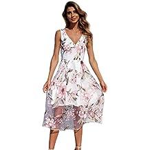 bbe5ac47488ec Kleid Damen,Binggong Frauen Sommer V-Ausschnitt mit Blumenmuster Maxi Kleid  Ärmellos Mesh Kleid