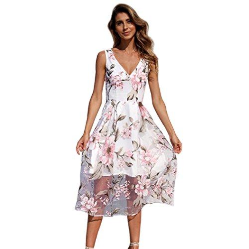 Kleid Damen,Binggong Frauen Sommer V-Ausschnitt mit Blumenmuster Maxi Kleid Ärmellos Mesh Kleid Sommerkleider Knielang Cocktailkleid Schöne Kleider Elegante (2XL, Weiß)