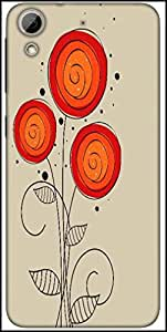 Snoogg Abstract Floral Background Designer Protective Back Case Cover For HTC Desire 626