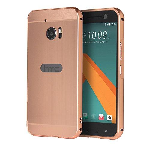 Huphant HTC 10 Hülle, HTC 10 Metall Hülle, Luxus 2 in 1 Premium Aluminium Hülle Hülle Metall Schutzhülle Aluminium Hülle 2 in 1 Slim Case Hardcase für HTC 10(5,2 Zoll) - Rose Gold