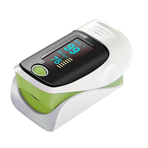ZDHF Fingerclip Pulsoximeter Professionelles tragbares Blutsauerstoffsättigungsmessgerät Elektronische Digitale Herzfrequenz Pulsfrequenz mit Alarmfunktion,Green