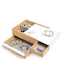 Umbra Stowit Design Schmuckkasten – moderne Schmuck Box mit Geheimfächern für Ringe, Armbänder, Uhren, Halsketten, Ohrringe und Accessoires, Holz / Metall, Weiß / Natur