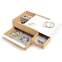 UMBRA  Stowit white Coffret Stowit blanc et bois - Rangement moderne pour objets et souvenirs avec tiroirs à compartiments cachés pour bagues, bracelets, montres, colliers, boucles d'oreilles et accessoires. Dimension 25.9x22x11.5cm