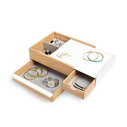Umbra Stowit Design Schmuckkasten – moderne Schmuck Box mit Geheimfächern für Ringe, Armbänder, Uhren, Halsketten, Ohrringe und Accessoires, Holz/Metall, Weiß/Natur