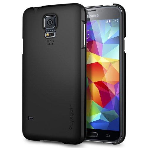 Samsung Galaxy S5 Hülle, Spigen® [Ultra Fit] Passgenaues [Smooth Black] Premium Hart-PC Schale / Schlanke Handyhülle / Schutzhülle für Samsung Galaxy S5 Case Cover, Galaxy S5 Case Cover - Smooth Black (SGP10731)