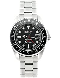 Nautec No Limit Deep Sea DS GMT/STBK - Reloj de caballero automático, correa de acero inoxidable color plata