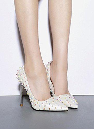 Spitz Pumps Nieten Weiß Stiletto Damen Bunt Aisun Trend Lederoptik x8zw0qX