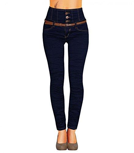 Damen Jeans Hose Skinny Corsage High Waist Röhrenjeans inkl. Gürtel (434), Grösse:38 M, Farbe:Dunkelblau