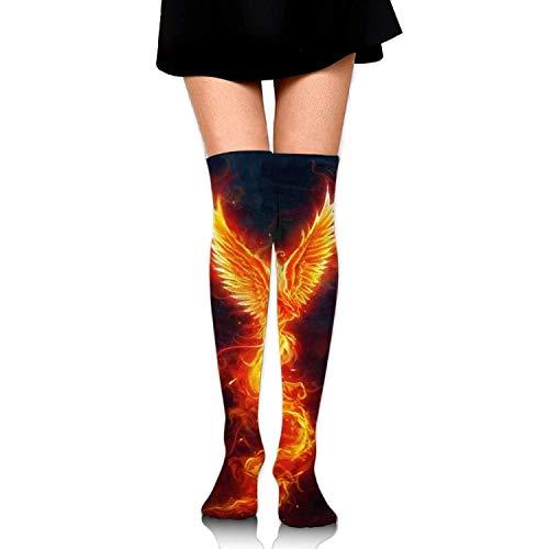 Kailey hello Fire Phoenix Bird Women Fashion Thigh High Socks Cotton Socks For Teen Girls (Open Toe Thigh High Socks)