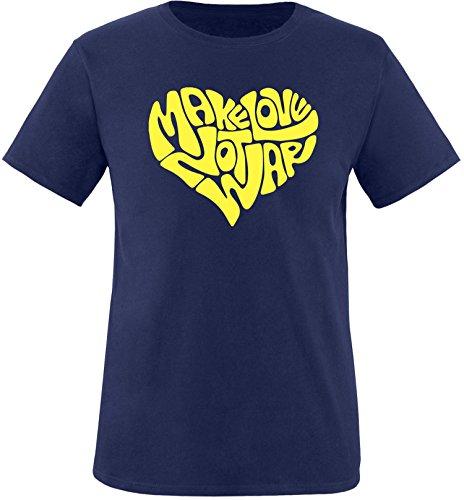 EZYshirt® Make love not war Herren Rundhals T-Shirt Navy/Gelb