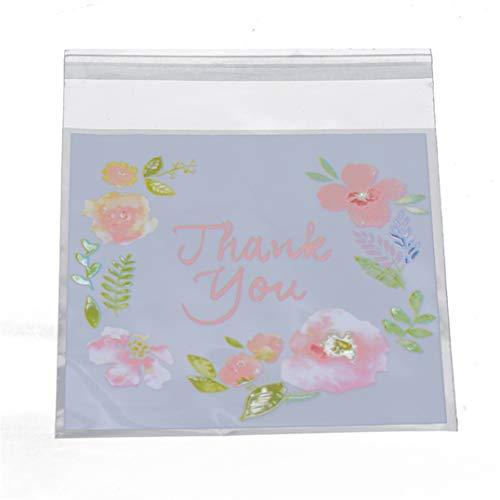 Garispace 100 stücke Danke Muster Süßigkeiten Tasche Kunststoff Transparent Cellophan Backen Süßigkeiten Cookie Geschenktüte für Hochzeit Geburtstag Party Supplies(als Bild)