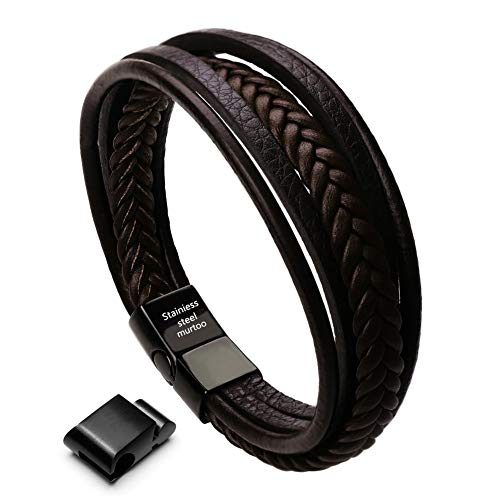 murtoo Herren Armband Edelstahl Echtleder Armband Naturstein geflochten mit Magnet Verschluss(22cm) (Leder braun mit extra Glied)