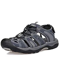 f09ef30919f GRITION Mens Hiking Sandals Closed Toe Hook and Loop Mesh   PU Upper  Adjustable Heel Strap for Sports and Outdoors Sandals Trekking