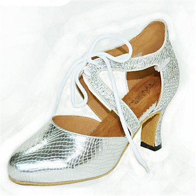 XIAMUO Nicht anpassbar - Die Frauen tanzen Schuhe funkelnden Glitter funkelnden Glitter Latin Fersen Ferse innen Schwarz Silber Grau Gold Schwarz