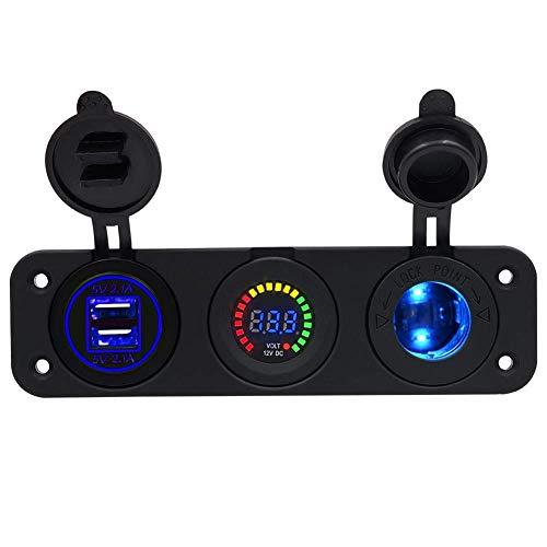 4.2A Dual USB Handy-Ladegerät Farbdisplay Voltmeter mit leichtem Zigarettenanzündersitz für Car Marine RV Truck Camper,C1 (Truck Camper Klemmen)