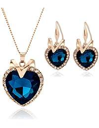 6bfad879d62b Colgante Collar Pendientes Conjuntos Conjunto de joyas para mujer Amante  Corazón Colgante Collar y pendientes del