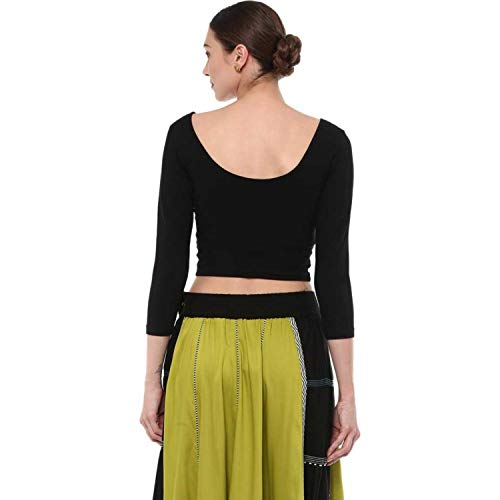 Fressia Fabrics cotton bustier Saree Blouse (777black_ Black_ Free Size)