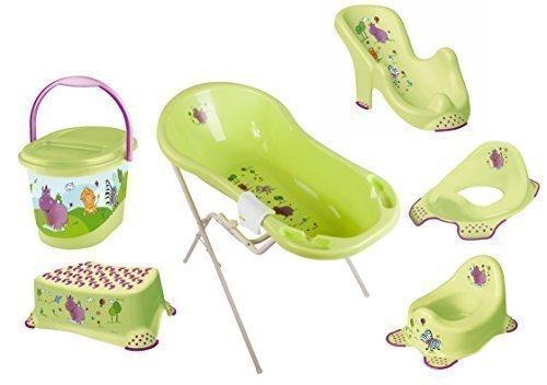 8er Set Hippo grün Badewanne XXL 100 cm + Badewannenständer + Badesitz + Topf + WC Aufsatz + Hocker + Windeleimer + Waschhandschuh