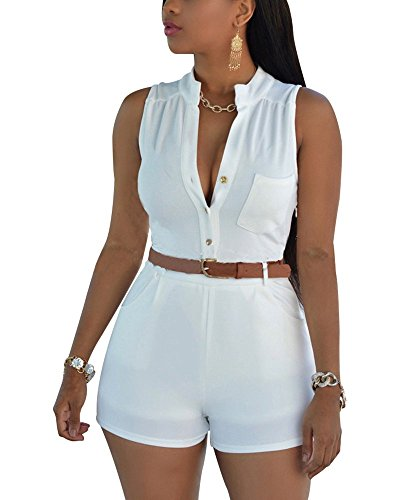 Nergivep Women's Sexy Sleeveless Plunge V Neck Belted High Waist Short Jumpsuit Rompers with Waist Belt