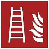 10 Feuerleiter Aufkleber Feuerleiter (10 Stück) 105 x 105 mm vorgestanzt Hochglanz-Lack selbstklebend Schild überkleben Feuerleiter Zubehör Warnzeichen Feuerleiter-Brandschutzzeichen Aufkleber F003